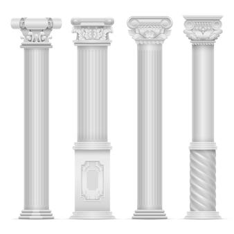 Realistischer weißer antiker römischer spaltenvektorsatz. steinsäulen bauen. antike gebäudearchitektur-spaltenillustration
