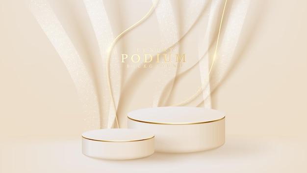 Realistischer weißer ausstellungsstand mit goldener kurvenlinienszene, podium, das produkt für verkaufsförderung und marketing zeigt. hintergrund im luxuriösen stil. 3d-vektor-illustration.