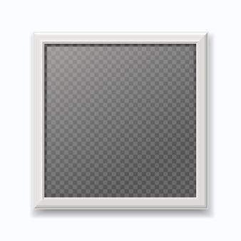 Realistischer weißer bilderrahmen, moderner leerer fotorahmen lokalisiert auf weißer wand.