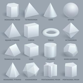 Realistischer weißer grundlegender vektorsatz der formen 3d
