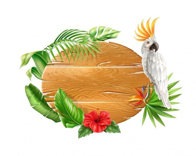 Realistischer weißer kakaopapagei, der am hölzernen zeichen mit tropischen blumen und blättern sitzt. exotisch.