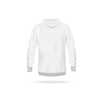 Realistischer weißer kapuzenpulli von hinten - langarmpullover der männer mit kapuze auf weißem hintergrund. sportbekleidung vorlage - illustration.