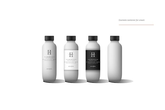 Realistischer weißer kosmetikcremebehälter. behälter für lotion mit verschiedenen designetiketten.