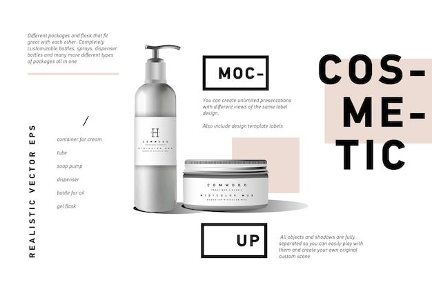 Realistischer weißer kosmetikcremebehälter und pumpflasche
