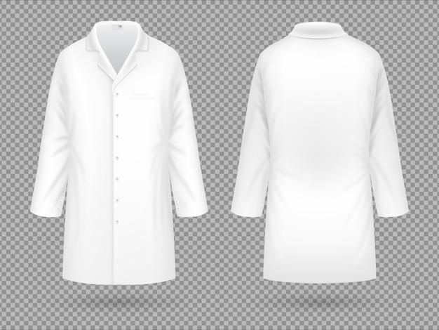 Realistischer weißer medizinischer laborkittel, krankenhausberufsanzug