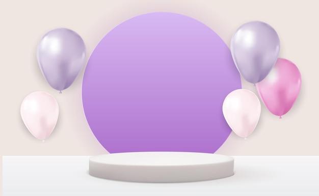 Realistischer weißer sockel 3d über hellem pastellfarbenem natürlichem hintergrund mit luftballons. trendy leere podestanzeige