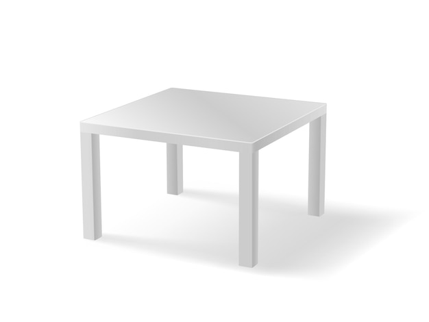 Realistischer weißer tisch isoliert. kunststoff- oder metalltisch mit schatten detailliert.