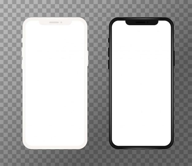 Realistischer weißer und schwarzer handy, leerer bildschirm
