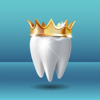 Realistischer weißer zahn in goldener krone. zahnpflege zahnmedizinische stomatologie vektor-symbol. 3d realistisch.