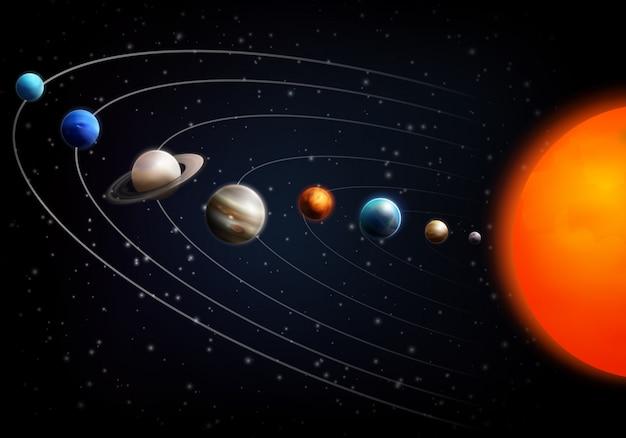 Realistischer weltraumhintergrund mit allen planeten
