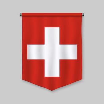 Realistischer wimpel 3d mit flagge der schweiz