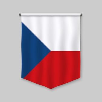 Realistischer wimpel 3d mit flagge der tschechischen republik