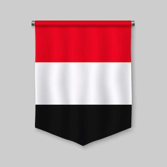 Realistischer wimpel 3d mit flagge vom jemen