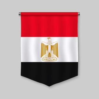 Realistischer wimpel 3d mit flagge von ägypten