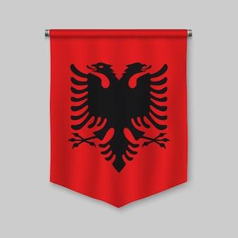 Realistischer wimpel 3d mit flagge von albanien