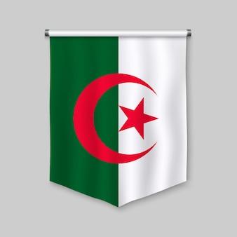 Realistischer wimpel 3d mit flagge von algerien