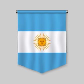 Realistischer wimpel 3d mit flagge von argentinien