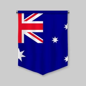 Realistischer wimpel 3d mit flagge von australien