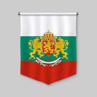 Realistischer wimpel 3d mit flagge von bulgarien