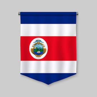 Realistischer wimpel 3d mit flagge von costa rica