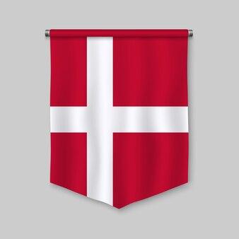 Realistischer wimpel 3d mit flagge von dänemark