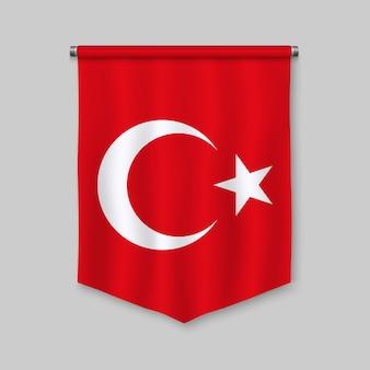 Realistischer wimpel 3d mit flagge von der türkei