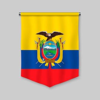Realistischer wimpel 3d mit flagge von ecuador