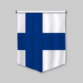 Realistischer wimpel 3d mit flagge von finnland