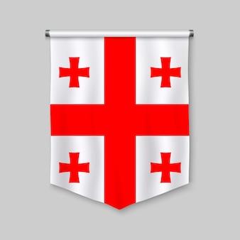 Realistischer wimpel 3d mit flagge von georgia