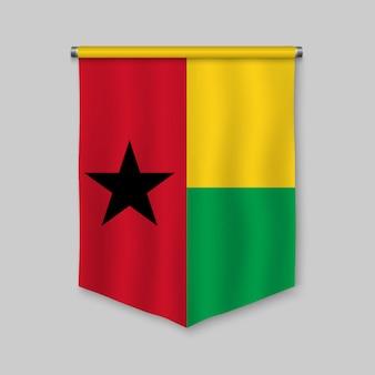Realistischer wimpel 3d mit flagge von guinea-bissau