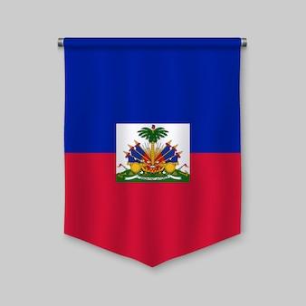 Realistischer wimpel 3d mit flagge von haiti