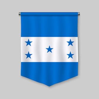 Realistischer wimpel 3d mit flagge von honduras