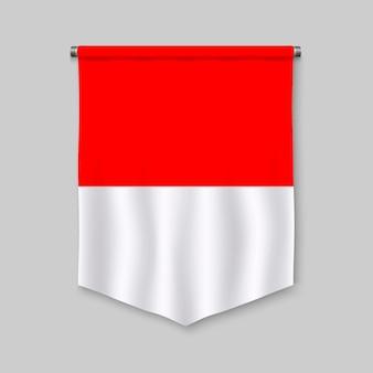 Realistischer wimpel 3d mit flagge von indonesien