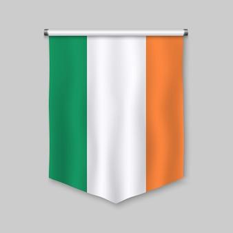 Realistischer wimpel 3d mit flagge von irland