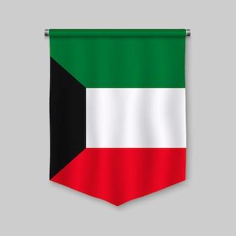 Realistischer wimpel 3d mit flagge von kuwait