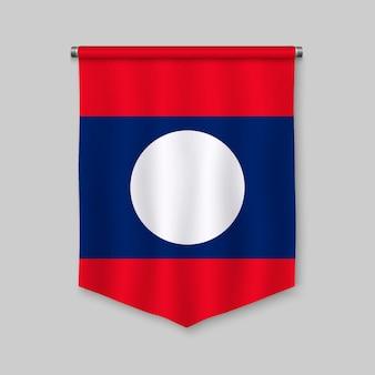 Realistischer wimpel 3d mit flagge von laos