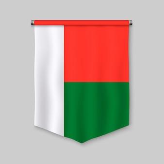 Realistischer wimpel 3d mit flagge von madagaskar