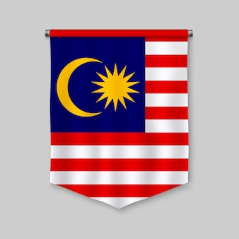 Realistischer wimpel 3d mit flagge von malaysia