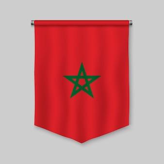 Realistischer wimpel 3d mit flagge von marokko