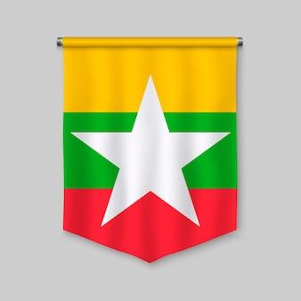 Realistischer wimpel 3d mit flagge von myanmar