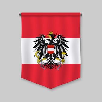 Realistischer wimpel 3d mit flagge von österreich