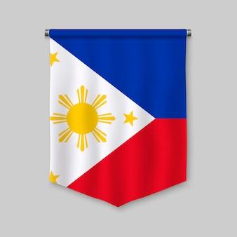 Realistischer wimpel 3d mit flagge von philippinen