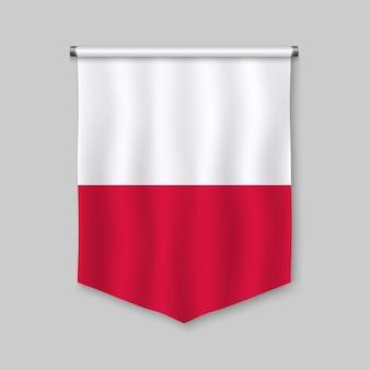 Realistischer wimpel 3d mit flagge von polen