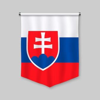 Realistischer wimpel 3d mit flagge von slowakei