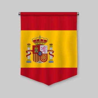 Realistischer wimpel 3d mit flagge von spanien