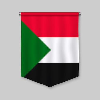 Realistischer wimpel 3d mit flagge von sudan