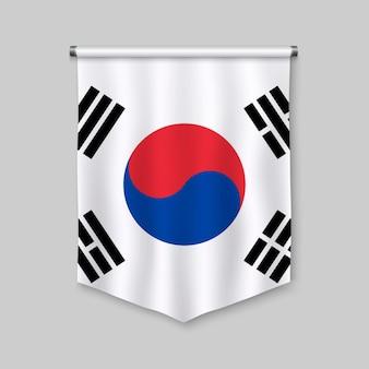 Realistischer wimpel 3d mit flagge von südkorea