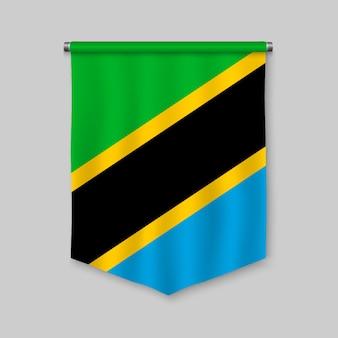 Realistischer wimpel 3d mit flagge von tansania