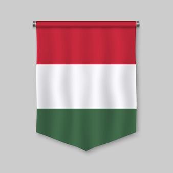 Realistischer wimpel 3d mit flagge von ungarn