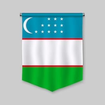 Realistischer wimpel 3d mit flagge von usbekistan